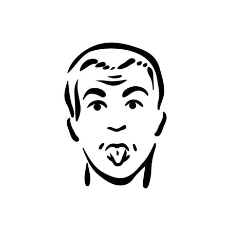 Silly face person emotion on white background