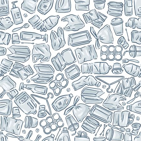 Plastic waste icon collection seamless pattern on white background.