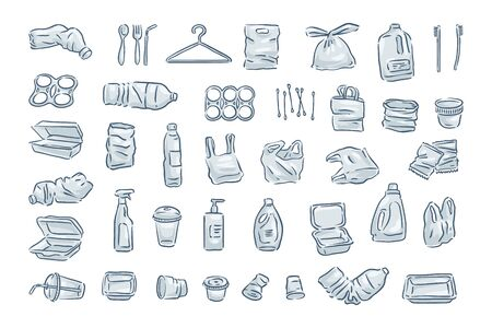 Vector plastic waste icon collection on white background.  Ilustração