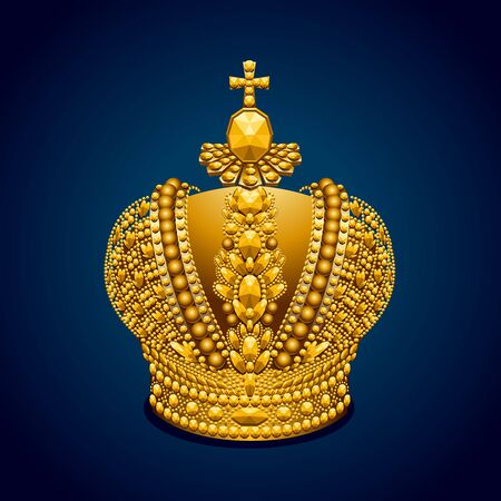 Big gold royal crown on dark background