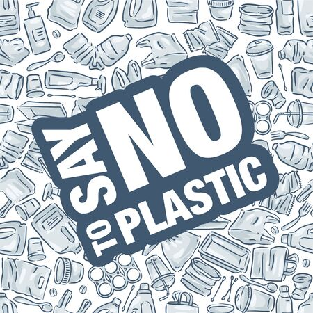 Say no to plastic pollution. White plastic waste bag, bottle and trash Ilustração