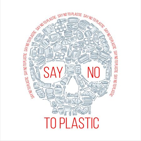Say no to plastic pollution. Ecological poster. Scull composed of white plastic waste bag, bottle and trash