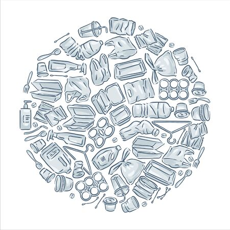 Plastic waste icon collection on white background.