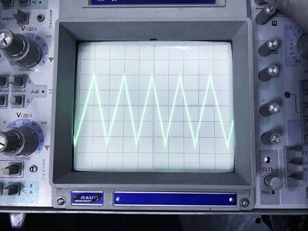 Old oscilloscope, кtechnical equipment, blank screen