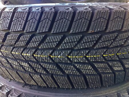 New car tire texture at the garage