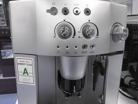 automatic coffee machines at exhibition on white kitchen Reklamní fotografie