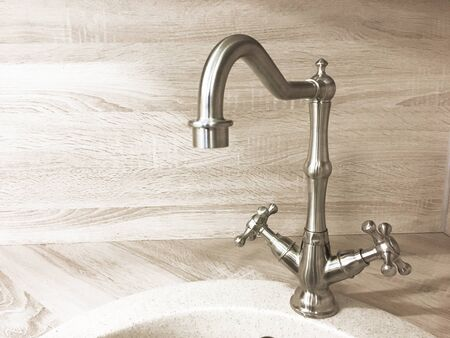 Vintage retro brass water tap faucet closeup