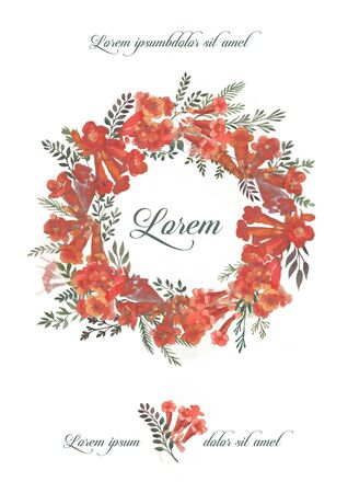 Design elements invitation illustration with red kamsis flower  Zdjęcie Seryjne