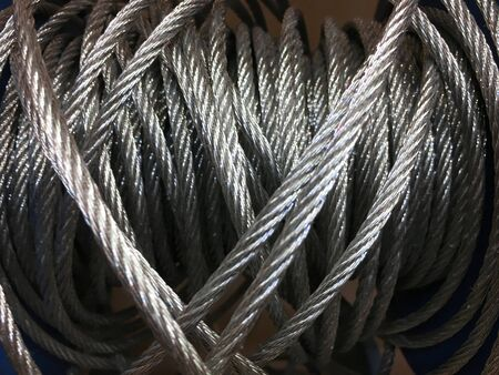 Closeup of heavy duty new steel cable. steel wire or steel sling. Zdjęcie Seryjne