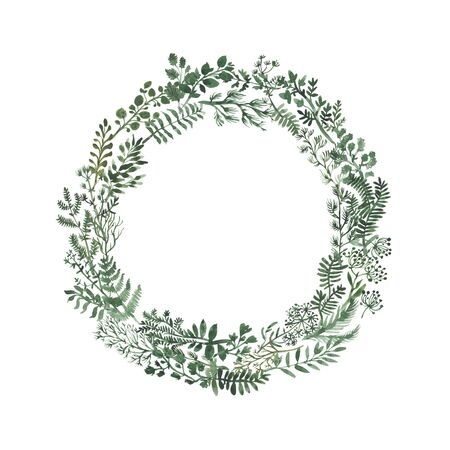 Watercolor herbal organic nature floral circle illustration