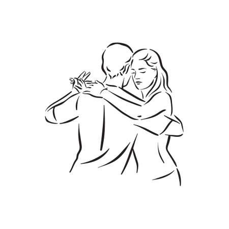 Argentine tango and salsa romance couple social pair dance illustration