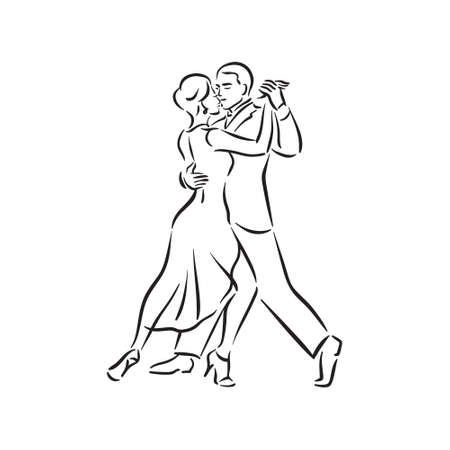 Argentine tango and salsa romance couple social pair dance illustration Vector Illustratie