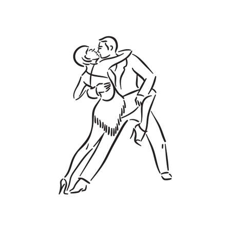 Argentine tango and salsa romance couple social pair dance illustration