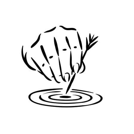 Symbol of hitted target and achieved goal with hand holding arrow in center