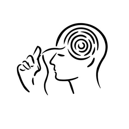 Mental thinking and searching of decision taking hand to maze labyrinth inside man head symbol