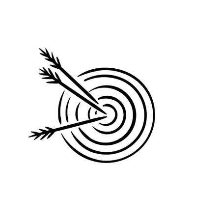 Symbol of hitted target and achieved goal with arrows in center Ilustração
