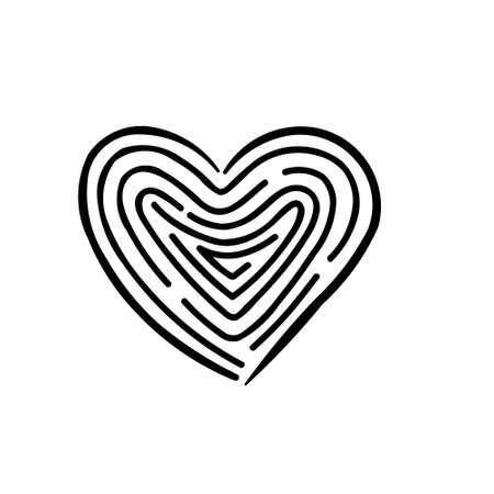 Heart symbol with maze labyrinth inside, fingerprint style