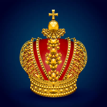 Big gold royal crown on dark 免版税图像