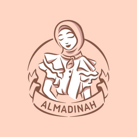Muslim fashion logo illustration girl with hijab