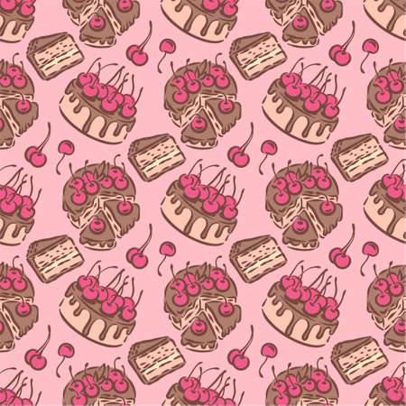 Birthday wedding tasty delicious dessert cake illustration seamless pattern