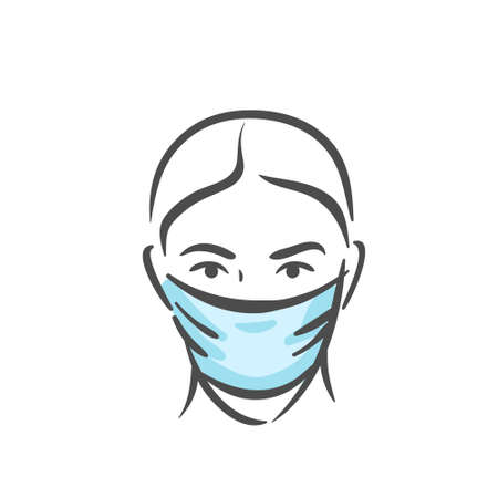 Emotional face with medical mask, pandemic, virus, COVID-19 panic emotion