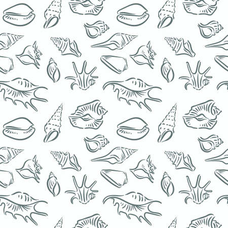 Seashell, shell, sea, mollusk, shellfish, nautical seamless pattern 向量圖像