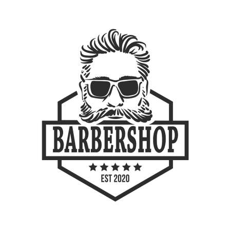 Barber Shop logo template with stylish hairstyle hipster portrait Çizim