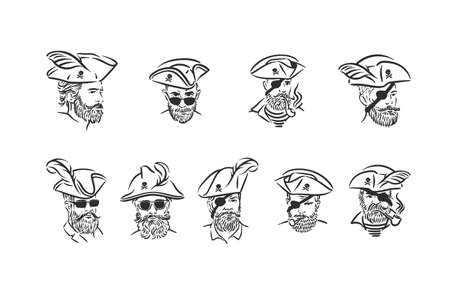 Robber pirate portrait with corsair hat illustration