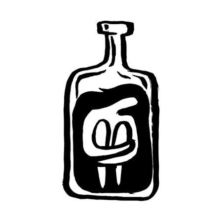 Sad melancholy depressed alcoholic woman inside bottle