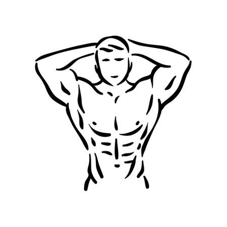 Bodybuilder fitness sport, man at gym with muscles.