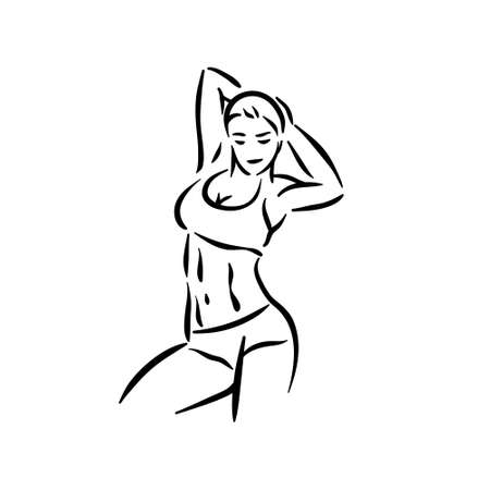 Fitness woman in gym with sport, workout healthy body. Training lifestyle Illustration