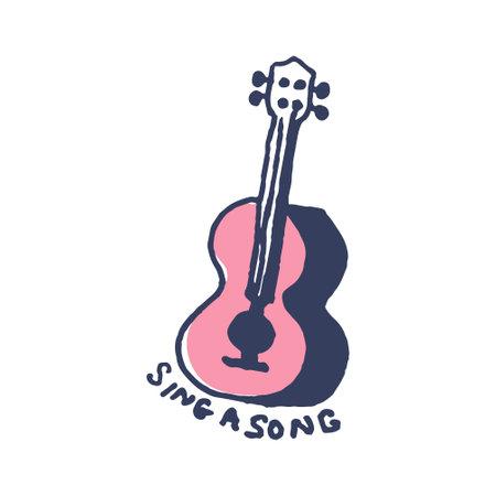 Ukulele guitar in cute cozy hugge cartoon style illustration  イラスト・ベクター素材