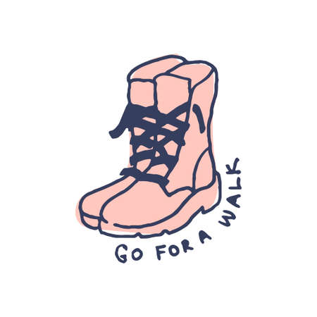 Boots for walk in cute cozy hugge cartoon style illustration