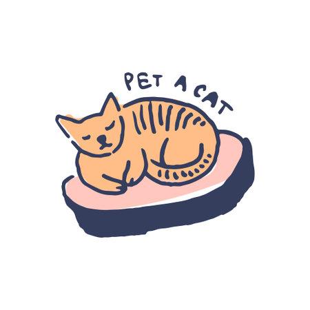 Slipping cat in cute cozy hugge cartoon style illustration