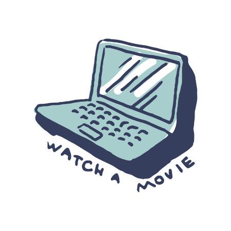 Laptop in cute cozy hugge cartoon style illustration