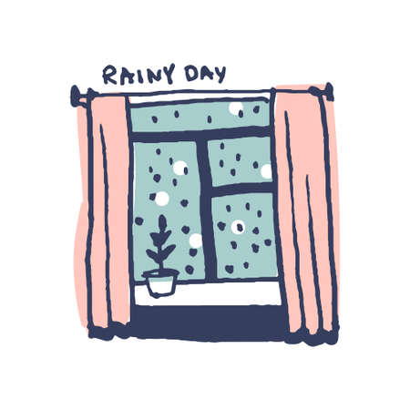 Window at rainy day in cute cozy hugge cartoon style illustration  イラスト・ベクター素材