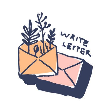 Letter envelop wit plants in cute cozy hugge cartoon style illustration