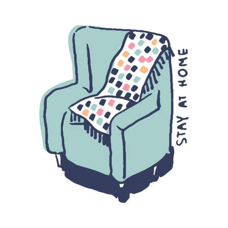 Soft chair in cute cozy hugge cartoon style illustration