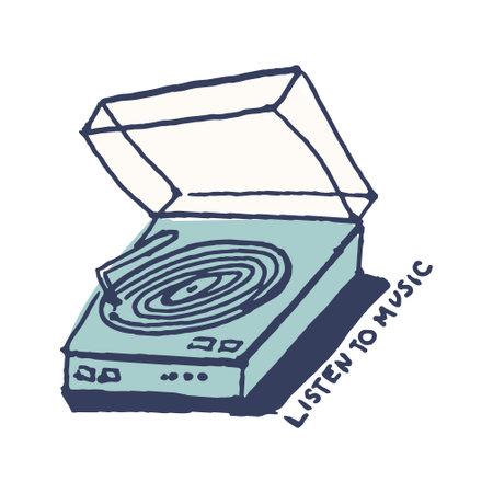 Vintage vinyl player in cute cozy hugge cartoon style illustration