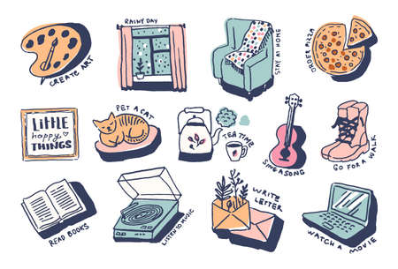 Stay at home comfort things in cute cozy hugge cartoon style illustration  イラスト・ベクター素材