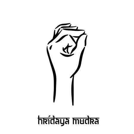 Hridaya mudra. Hand spirituality hindu yoga of fingers gesture. Technique of meditation for mental health. Illustration