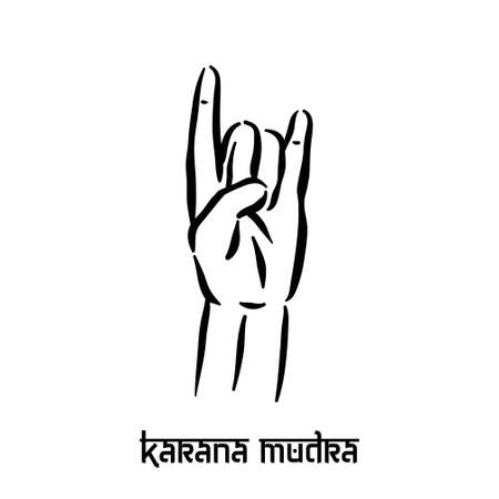 Karana mudra. Hand spirituality hindu yoga of fingers gesture. Technique of meditation for mental health.