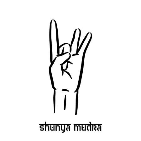 Shunya mudra. Hand spirituality hindu yoga of fingers gesture. Technique of meditation for mental health.