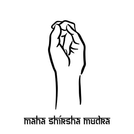 Maha shirsha mudra. Hand spirituality hindu yoga of fingers gesture. Technique of meditation for mental health.