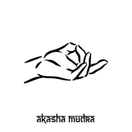 Akasha mudra. Hand spirituality hindu yoga of fingers gesture. Technique of meditation for mental health.