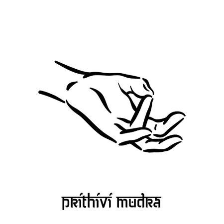 Prithivi mudra. Hand spirituality hindu yoga of fingers gesture. Technique of meditation for mental health. Illustration