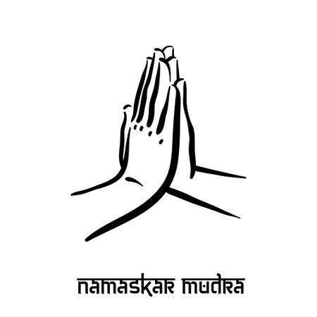 Namaskar mudra. Hand spirituality hindu yoga of fingers gesture. Technique of meditation for mental health.