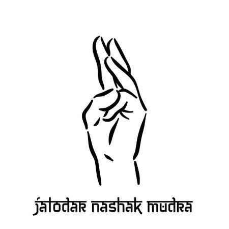 Jalodar nashak mudra. Hand spirituality hindu yoga of fingers gesture. Technique of meditation for mental health.