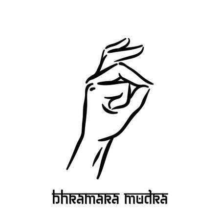 Bhramara mudra. Hand spirituality hindu yoga of fingers gesture. Technique of meditation for mental health.