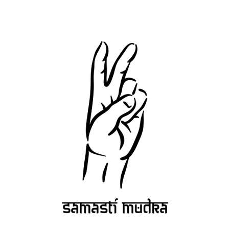 Samasti mudra. Hand spirituality hindu yoga of fingers gesture. Technique of meditation for mental health.